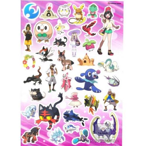 Pokemon Center 2016 Welcome To Alola Campaign Lunala Alolan Rattata Drampa Wishiwashi & Friends Large Sticker Sheet (Moon Version)
