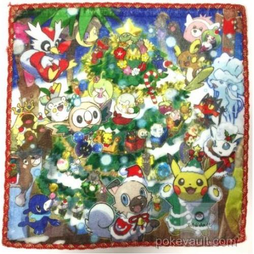 Pokemon Center 2017 Christmas Campaign Alolan Vulpix Rockruff Alolan Ninetales & Friends Mini Hand Towel