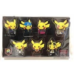 Pokemon Center 2018 Rainbow Rocket Campaign Team Aqua Magma Galactic Flare Plasma Rocket Skull Pikachu Set of 7 Clips