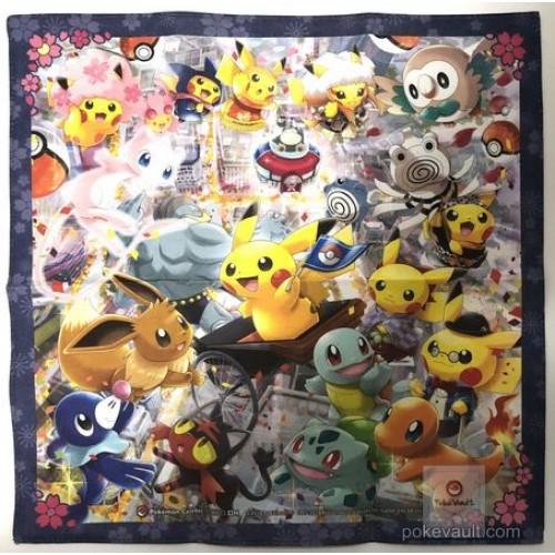 Pokemon Center Tokyo DX 2018 Grand Opening Mew Eevee Litten & Friends Cloth Handkerchief