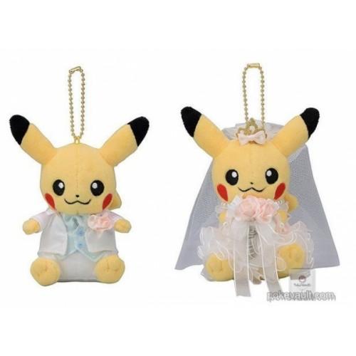 Pokemon Center 2018 Precious Wedding Campaign Pikachu Male & Female Set of 2 Plush Mascot Keychains