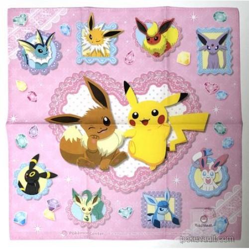 Pokemon Center 2018 Pikachu Eevee Espeon Flareon Glaceon Jolteon Leafeon Sylveon Umbreon Vaporeon Cloth Handkerchief