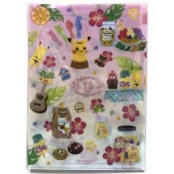 Pokemon Center 2018 Pokemon's Tropical Sweets Campaign Pikachu Eevee Lapras & Friends Set Of 2 A4 Size Clear File Folders