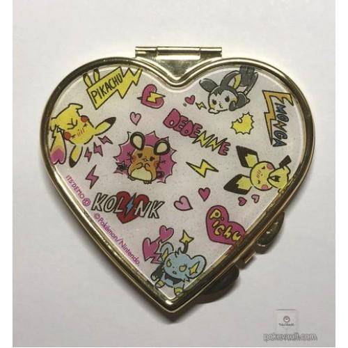 Pokemon 2018 Pokemon Love Its Demo Campaign Shinx Dedenne Emolga Pichu Pikachu Small Heart Shaped Compact Mirror