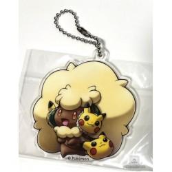 Pokemon Center 2018 Fan Of Pikachu & Eevee Campaign Whimsicott Pikachu Acrylic Keychain Charm (Version #10)