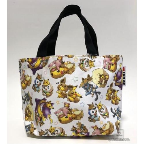 Pokemon Center 2018 Fan Of Pikachu & Eevee Campaign Poncho Pikachu Eevee Riolu Gengar & Friends Small Tote Bag