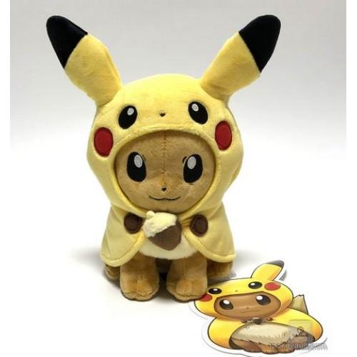 Pokemon Center 2018 Fan Of Pikachu & Eevee Campaign Poncho Eevee Pikachu Plush Toy