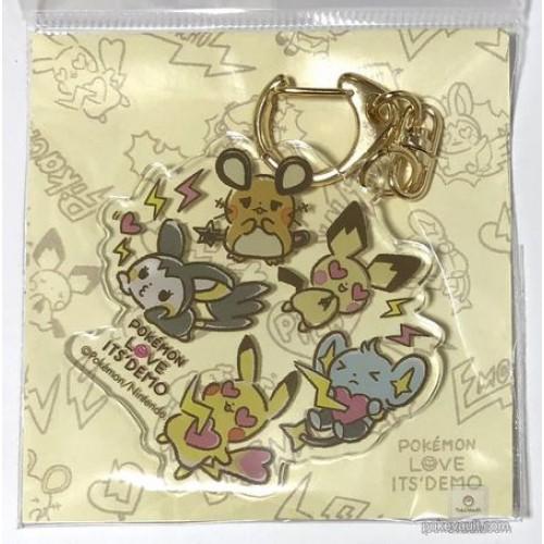 Pokemon 2018 Pokemon Love Its Demo Campaign Emolga Dedenne Pichu Shinx Pikachu Acrylic Plastic Keychain