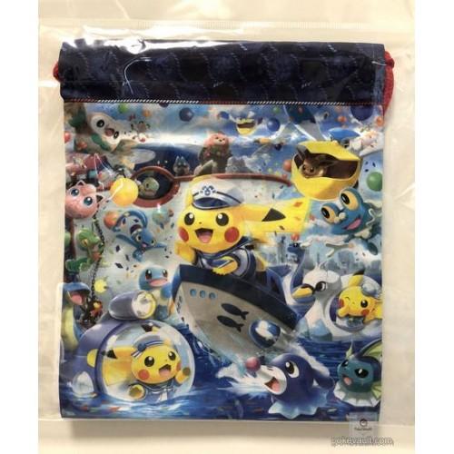 Pokemon Center Yokohama 2018 Renewal Opening Campaign Pikachu Swanna Vaporeon & Friends Medium Size Drawstring Dice Bag