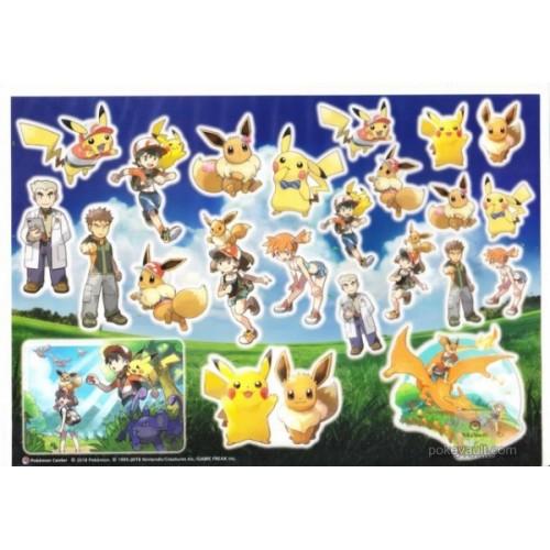 Pokemon Center 2018 Let's Go Campaign Pikachu Eevee Charizard & Friends Sticker Sheet