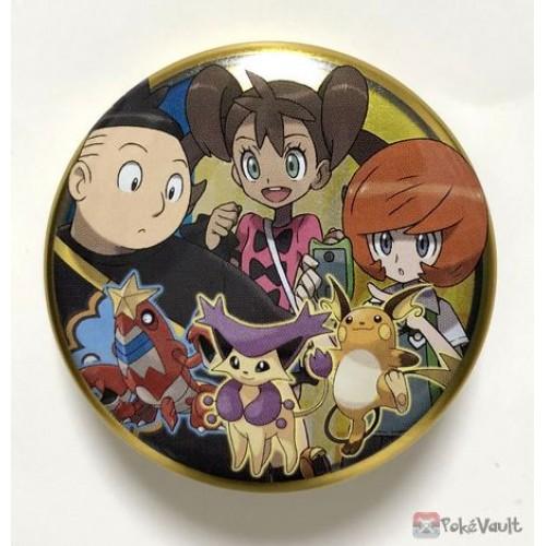 Pokemon Center 2018 Kalos Button Collection Tierno Shauna Trevor Crawdaunt Delcatty Raichu Large Size Metal Button