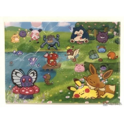 Pokemon Center 2018 Pokemon Yurutto Campaign #2 Eevee Pikachu Butterfree Magikarp & Friends Set of 2 A4 Size Clear File Folders