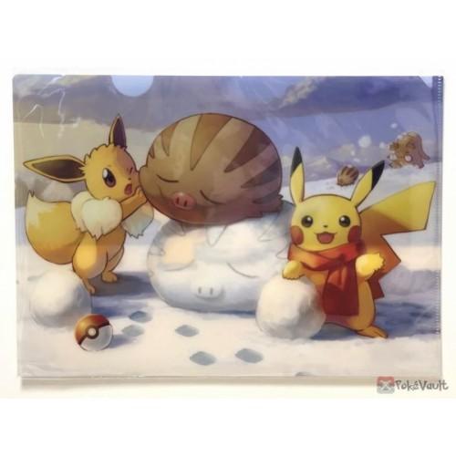 Pokemon Center 2019 Eevee Swinub Pikachu Piloswine A4 Size Clear File Folder