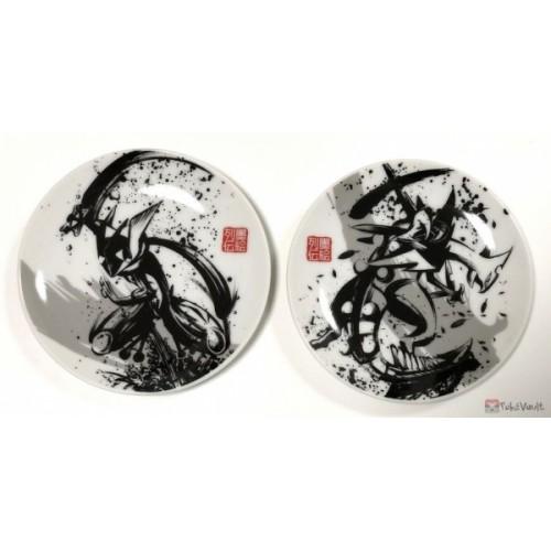 Pokemon Center 2019Sumi-E Retsuden Japanese Ink Art Campaign Greninja Mega Sceptile Mamezara Set Of 2 Small Ceramic Plates