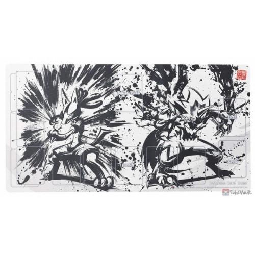Pokemon Center 2019 Sumi-E Retsuden Japanese Ink Art Campaign #1 Lucario Zeraora Official Premium Half Rubber Playmat