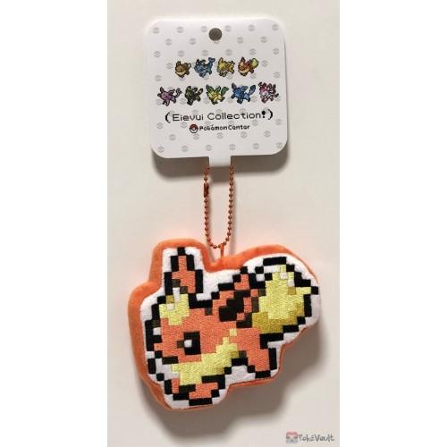 Pokemon Center 2019 Eevee Dot Collection Campaign Flareon Mascot Plush Keychain