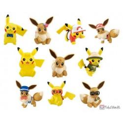 Pokemon 2019 Takara Tomy Let's Go Pikachu & Eevee Series Pikachu Stand Figure (Version #1 Suit & Ribbon)