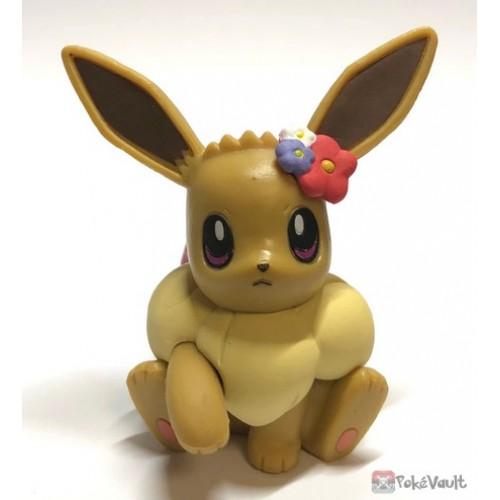 Pokemon 2019 Takara Tomy Let's Go Pikachu & Eevee Series Eevee Stand Figure (Version #2 Red Flower)