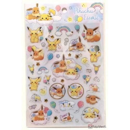 Pokemon Center 2019 Rainbow Pikachu & Eevee Campaign 3D Sticker Sheet