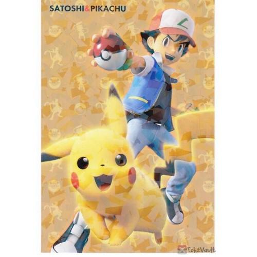 Pokemon 2019 Mewtwo Strikes Back Evolution Movie Series Ash Ketchum Pikachu Large Bromide Chewing Gum Prism Holofoil Promo Card