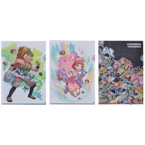 Pokemon Center 2019 Pokemon Trainers Campaign Pokemon Center Nurse Chansey Hiker Geodude & Friends Set Of 3 A4 Size Clear File Folders
