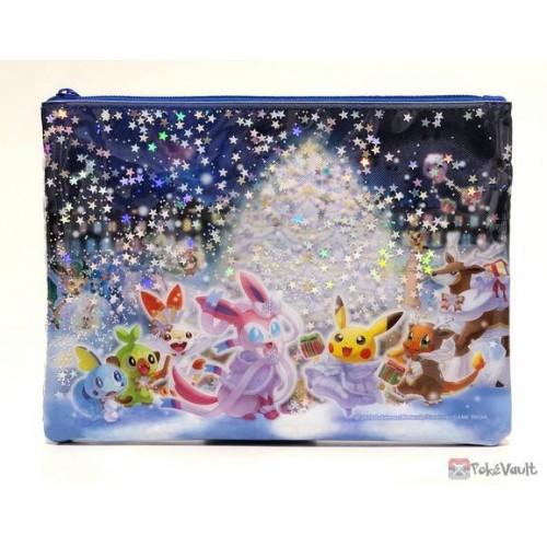 Pokemon Center 2019 Pokemon Frosty Christmas Campaign Sawsbuck Scorbunny & Friends Flat Pouch With Glitter