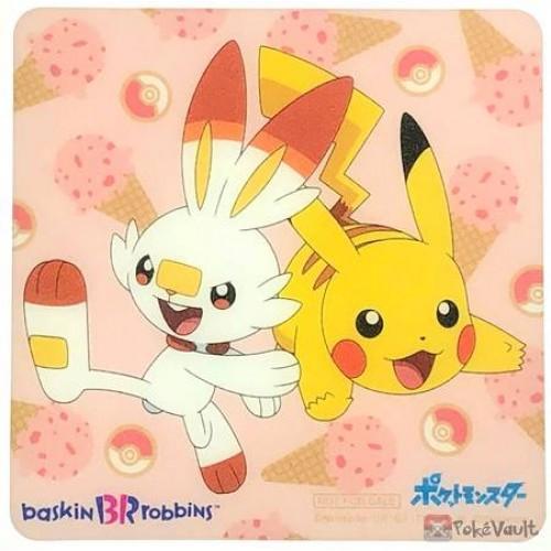Pokemon 2019 Baskin Robbins Scorbunny Pikachu Plastic Coaster (Version #5) NOT SOLD IN STORES