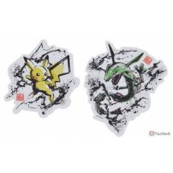 Pokemon Center 2020 Sumi-E Retsuden Japanese Ink Art Campaign #2 Pikachu Rayquaza Set Of 2 Large Stickers