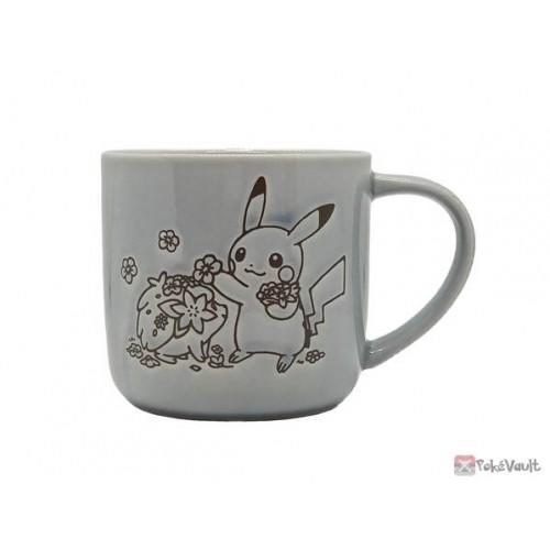 Pokemon Center 2021 Pikachu Shaymin Lovely Flowers Ceramic Mug (Blue-Grey)