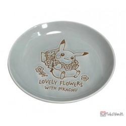 Pokemon Center 2021 Pikachu Comfey Lovely Flowers Ceramic Plate Small (Blue-Grey)