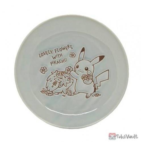 Pokemon Center 2021 Pikachu Shaymin Lovely Flowers Ceramic Plate Medium (Blue-Grey)