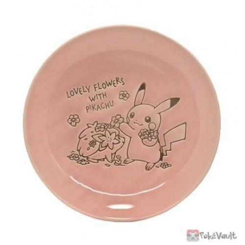 Pokemon Center 2021 Pikachu Shaymin Lovely Flowers Ceramic Plate Medium (Pink)
