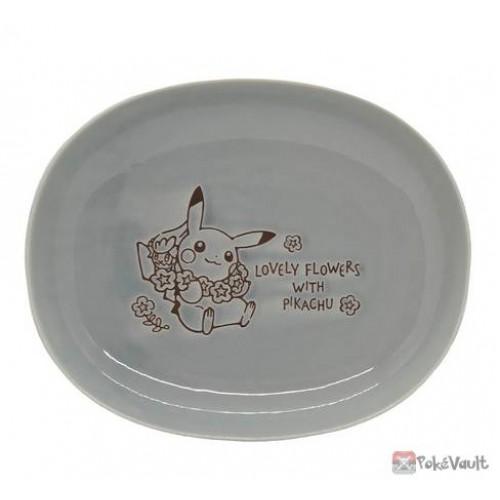 Pokemon Center 2021 Pikachu Comfey Lovely Flowers Ceramic Oval Bowl (Blue-Grey)