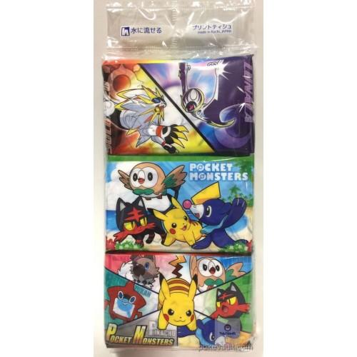 Pokemon 2017 Solgaleo Lunala Litten Rockruff & Friends Set Of 3 Mini Pocket Size Tissue
