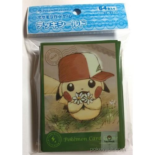 Pokemon Center 2017 Pikachu Album Collection Campaign Ash Hat Pikachu Set Of 64 Deck Sleeves (Version #1)