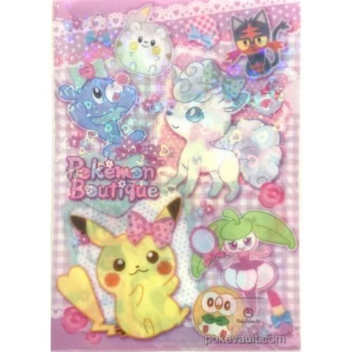 Pokemon Center 2017 Pokemon Boutique Alolan Vulpix Litten Popplio Rowlet & Friends A4 Size Clear File Folder
