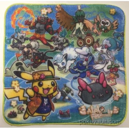 Pokemon Center 2017 Alola Festival Campaign Alolan Vulpix Pyukumuku Primarina Incineroar Decidueye & Friends Mini Hand Towel (Version #2)