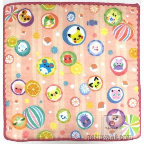 Pokemon Center 2017 Japanese Pattern Campaign #2 Alolan Vulpix Goomy Teddiursa Lilligant & Friends Mini Hand Towel (Version #2 Candy Pattern)
