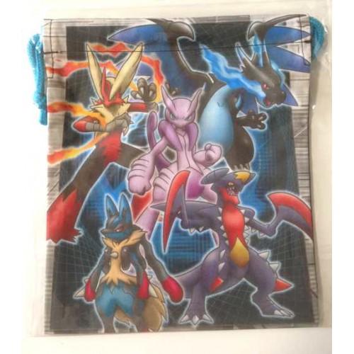 Pokemon Center 2014 Mega Charizard X Mewtwo X Blaziken Lucario Garchomp Medium Size Drawstring Dice Bag