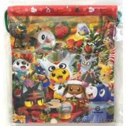 Pokemon Center 2016 Christmas Campaign Eevee Popplio Litten Rowlet Furret Delibird Vulpix & Friends Medium Size Drawstring Dice Bag