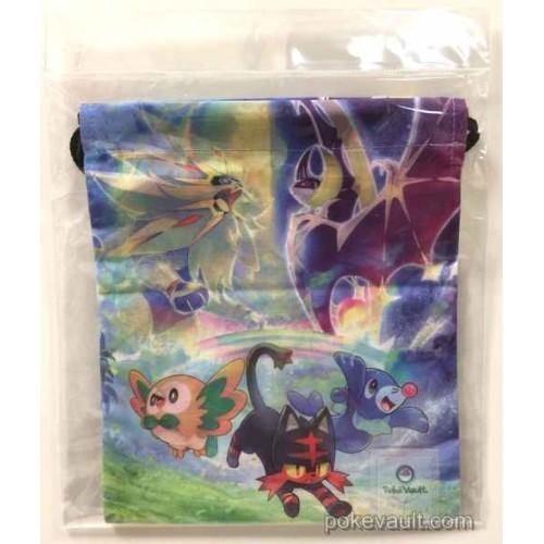 Pokemon Center 2016 Litten Popplio Rowlet Solgaleo Lunala Medium Size Drawstring Dice Bag