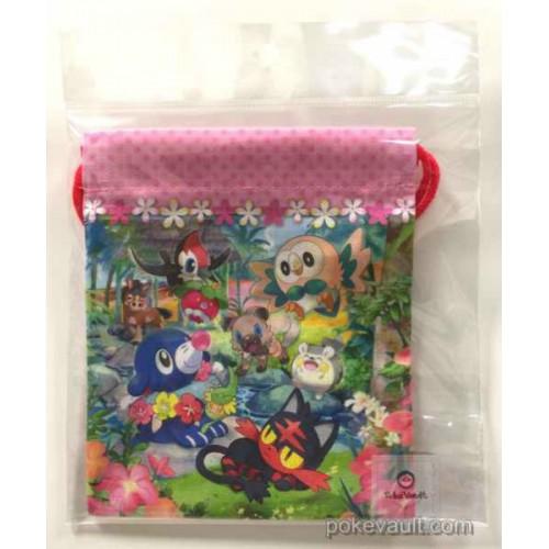 Pokemon Center 2016 Pikipek Rockruff Popplio Litten Rowlet & Friends Small Size Drawstring Dice Bag
