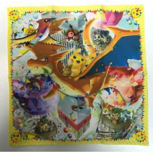 Pokemon Center Mega Tokyo 2014 Grand Opening Mega Charizard Y Pikachu & Friends Cloth Handkerchief