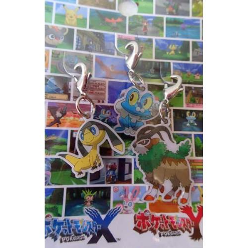 Pokemon Center 2013 Froakie Helioptile Gogoat Set of 3 Charms