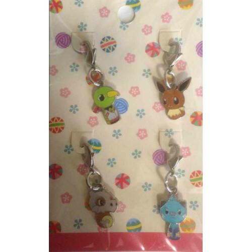 Pokemon Center 2014 Japanese Traditional Design Campaign Kokeshi Doll Eevee Natu Cubone Dewott Set of 4 Charms