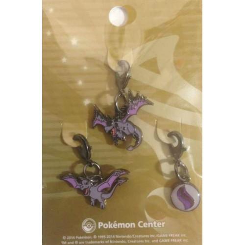 Pokemon Center 2014 Aerodactyl Mega Aerodactyl Mega Stone Set of 3 Charms