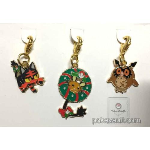 Pokemon Center 2016 Christmas Campaign Litten Dedenne Hoothoot Set Of 3 Charms (Version #4)