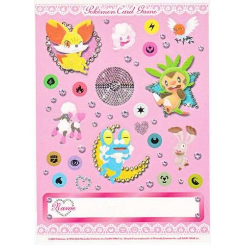 Pokemon 2013 XY Girls Starter Set DX Fennekin Froakie Chespin Fletchling Furfrou & Friends Sticker Sheet
