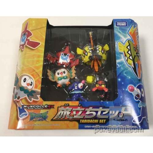 Pokemon 2016 Travelers Set Popplio Litten Rowlet Rotom Pokedex Tapu Koko Tomy Monster Collection Moncolle EX Set Of 5 Plastic Figures