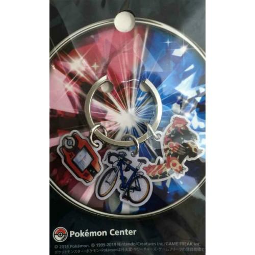 Pokemon Center 2014 Primal Groudon Mach Bike Pokedex Charm Keychain